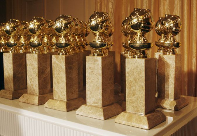 The Hollywood Foreign Press Association's new Golden Globe statuettes are shown during a news conference in Beverly Hills, California January 6, 2009. The new statuette features a facelift to the metal top and a new marble type. The Golden Globe Awards will be held January 11 in Beverly Hills. REUTERS/Fred Prouser (UNITED STATES) - GM1E5170A9601