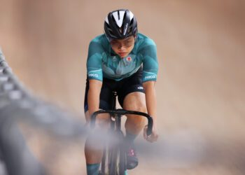 IZU, JAPAN - AUGUST 05: Wai Sze Lee of Team Hong Kong prepares for the race prior to of the track cycling on day thirteen of the Tokyo 2020 Olympic Games at Izu Velodrome on August 05, 2021 in Izu, Japan. (Photo by Justin Setterfield/Getty Images)